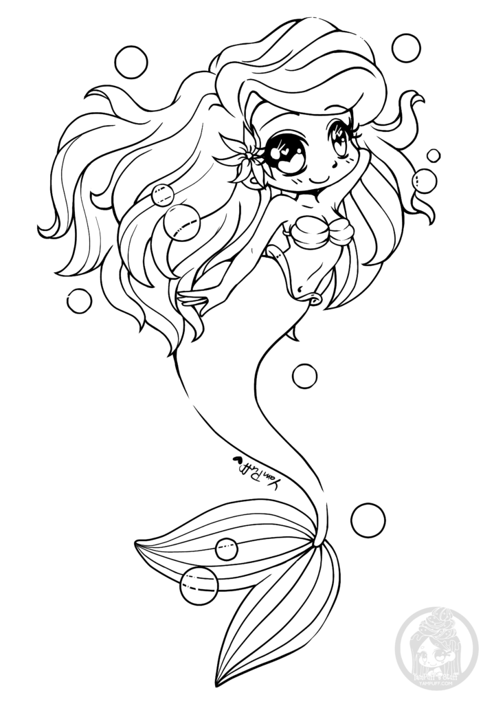 Chibi la petite sirène par YamPuff à colorier