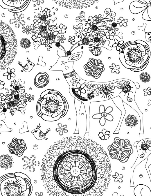 Zendoodle très difficile chevreuil à imprimer et colorier