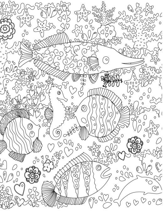 Doodle artherapie poisson à imprimer pour adulte gratuit