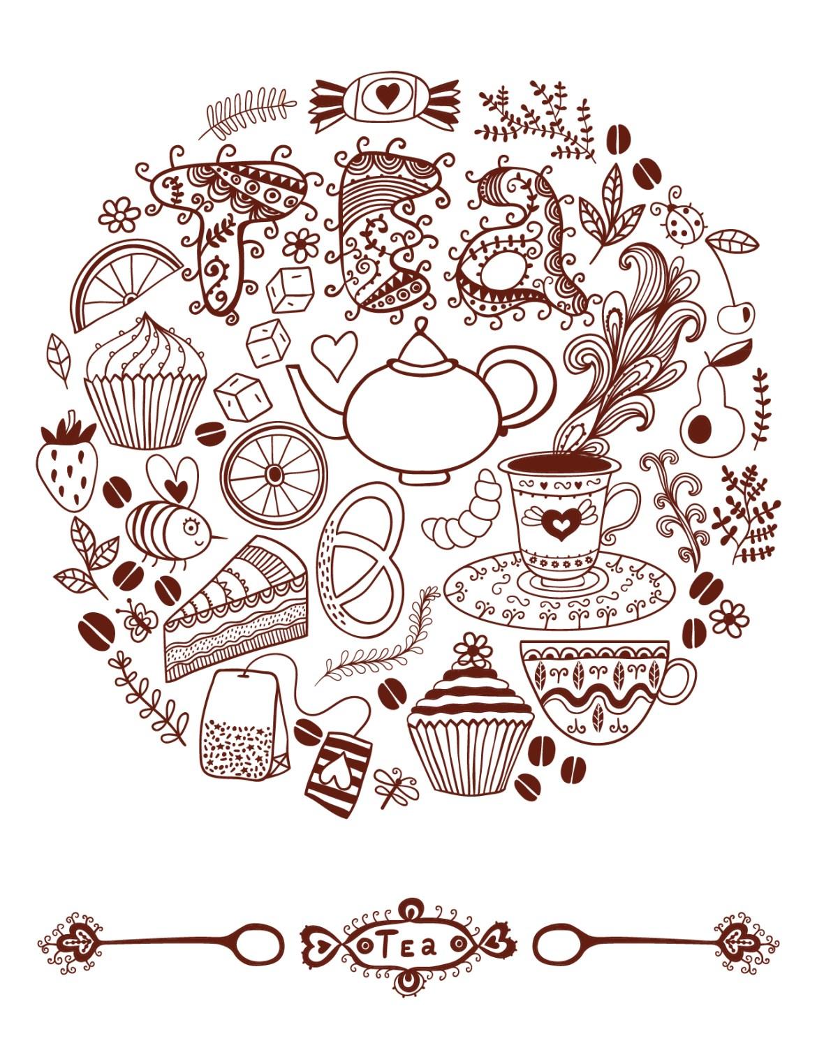 Doodle artherapie tea time à dessiner pour adulte