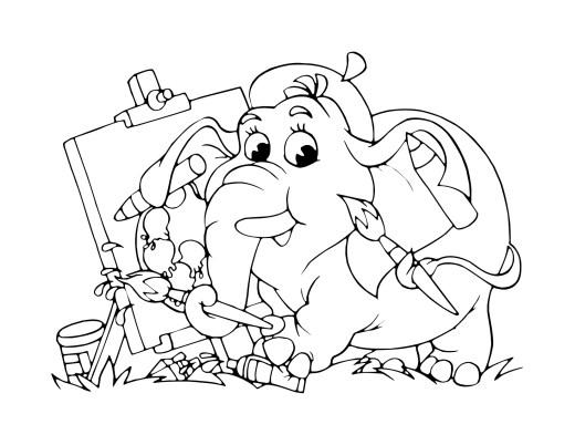 Dessin éléphant artiste pour enfant à imprimer gratuit