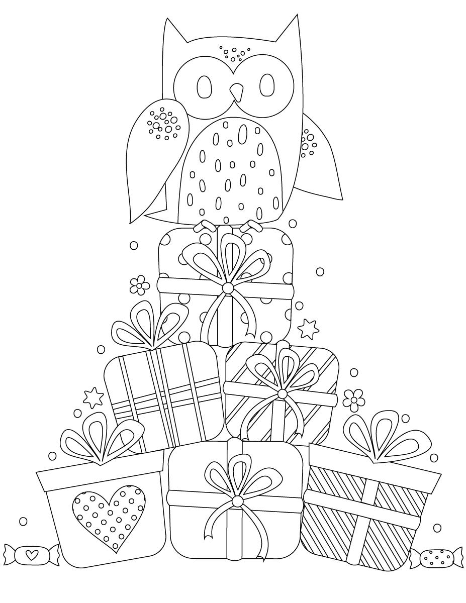 Coloriage chouette joyeux anniversaire - Chouette a dessiner ...