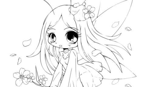 Coloriage fée cherry blossom à imprimer par YamPuff