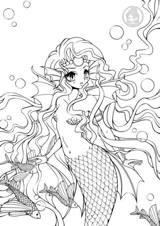 Page pour adulte à imprimer sirène par YamPuff