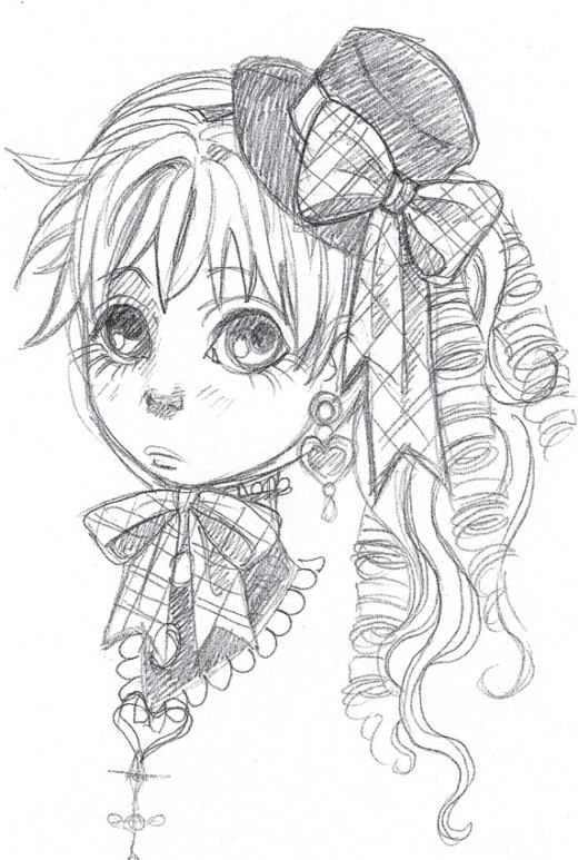 Sketch petite Charlotta image gratuite a imprimer par Dar-Chan