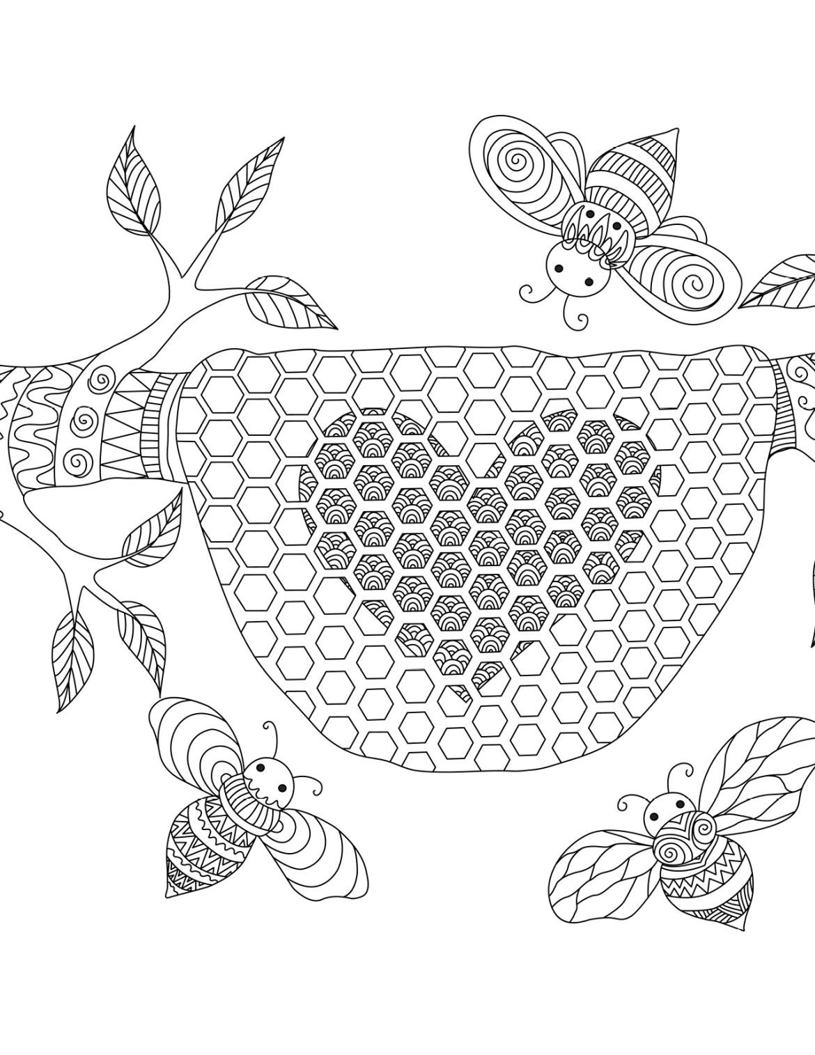 Abeilles coloriage pour adulte à imprimer par Bimbimkha