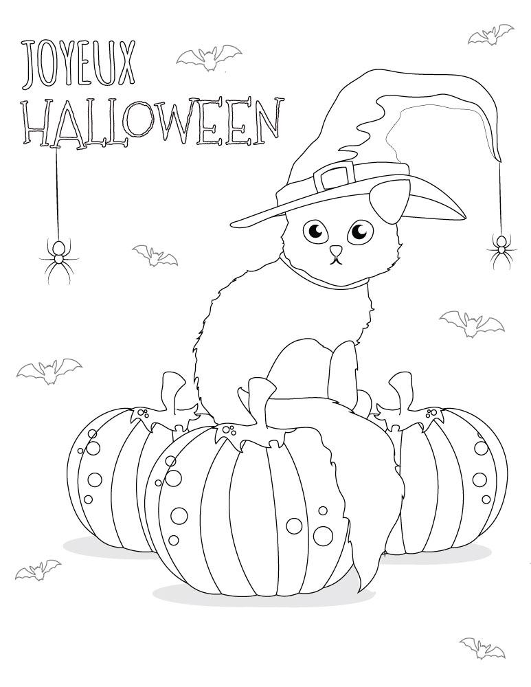 Coloriage chat dessins halloween imprimer gratuit - Artherapie.ca
