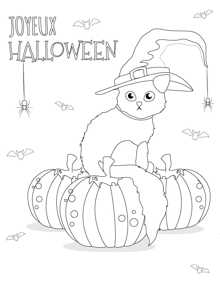 Coloriage chat dessins halloween imprimer gratuit - Dessins halloween a imprimer ...