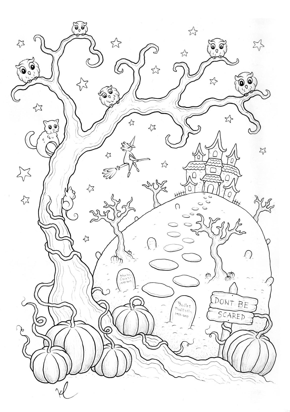 Coloriage halloween a imprimer qui fait peur par Konstantinos Liaramantzas