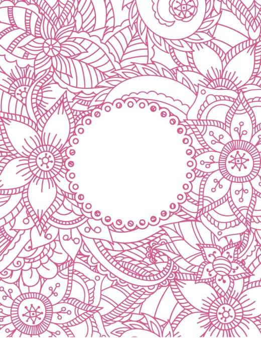 Carte de fleurs coloriage pour adulte à imprimer