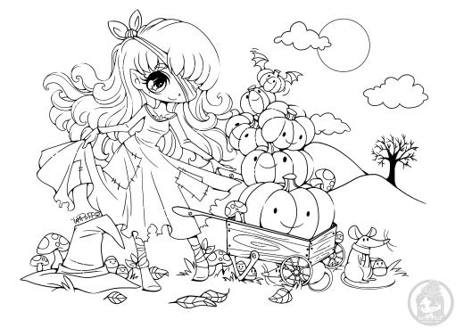 Coloriage princesse citrouille par YamPuff dessin a imprimer halloween