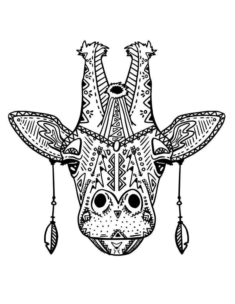 Coloriage magnifique tête girafe mode boho à imprimer