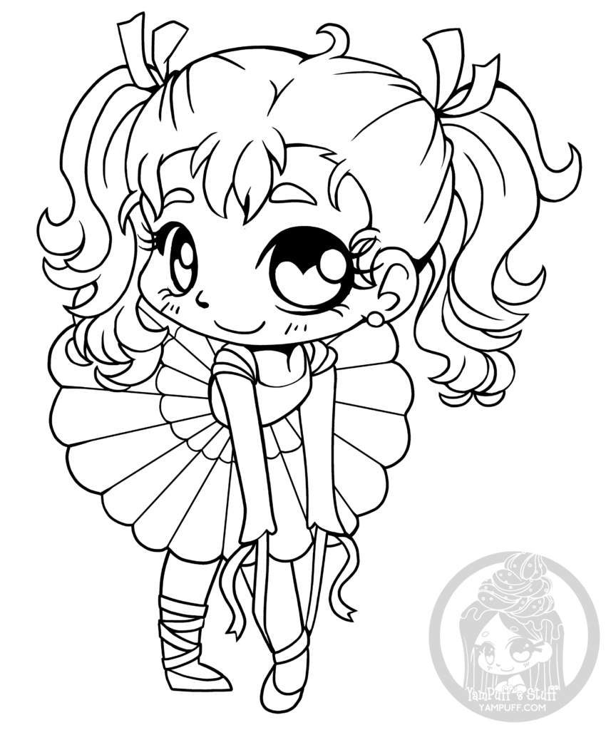 Coloriage Dessin Anime Ballerina.Coloriage Pour Adulte Chibi Ballerine Par Yampuff Gratuit A Dessiner