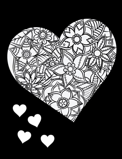Coeur fond noir dessin à colorier et à imprimer gratuit