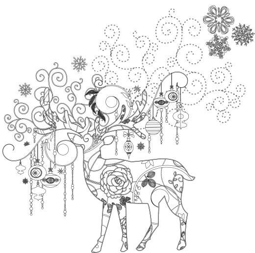 Art thérapie animaux dessin a imprimer de noel gratuit