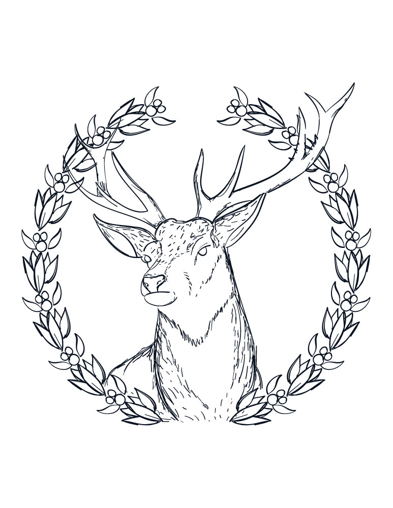 Coloriage a imprimer pere noel couronne de renne adulte - Artherapie.ca