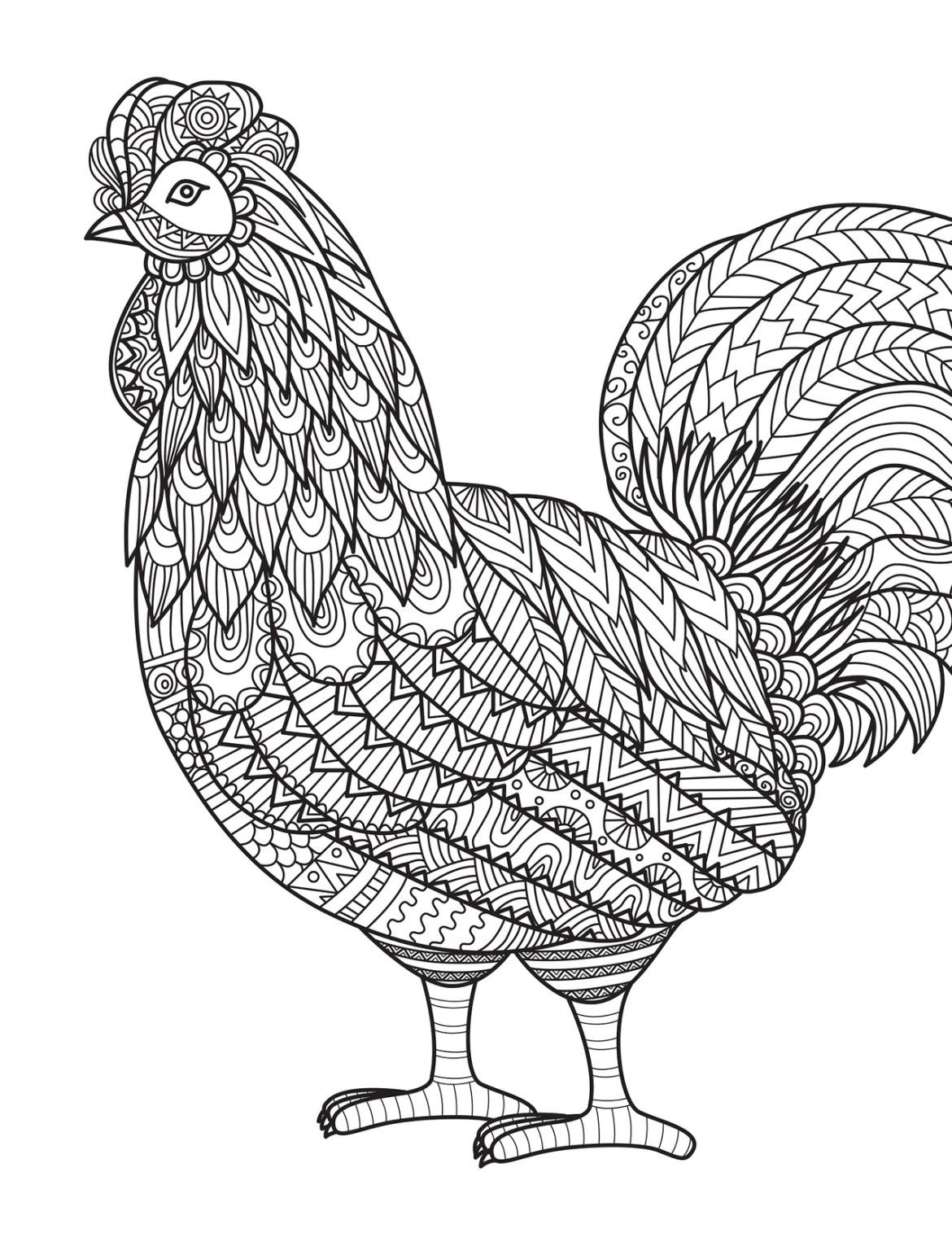 Coloriage pour les grands coq par bimbimkha - Coloriage pour les grands ...