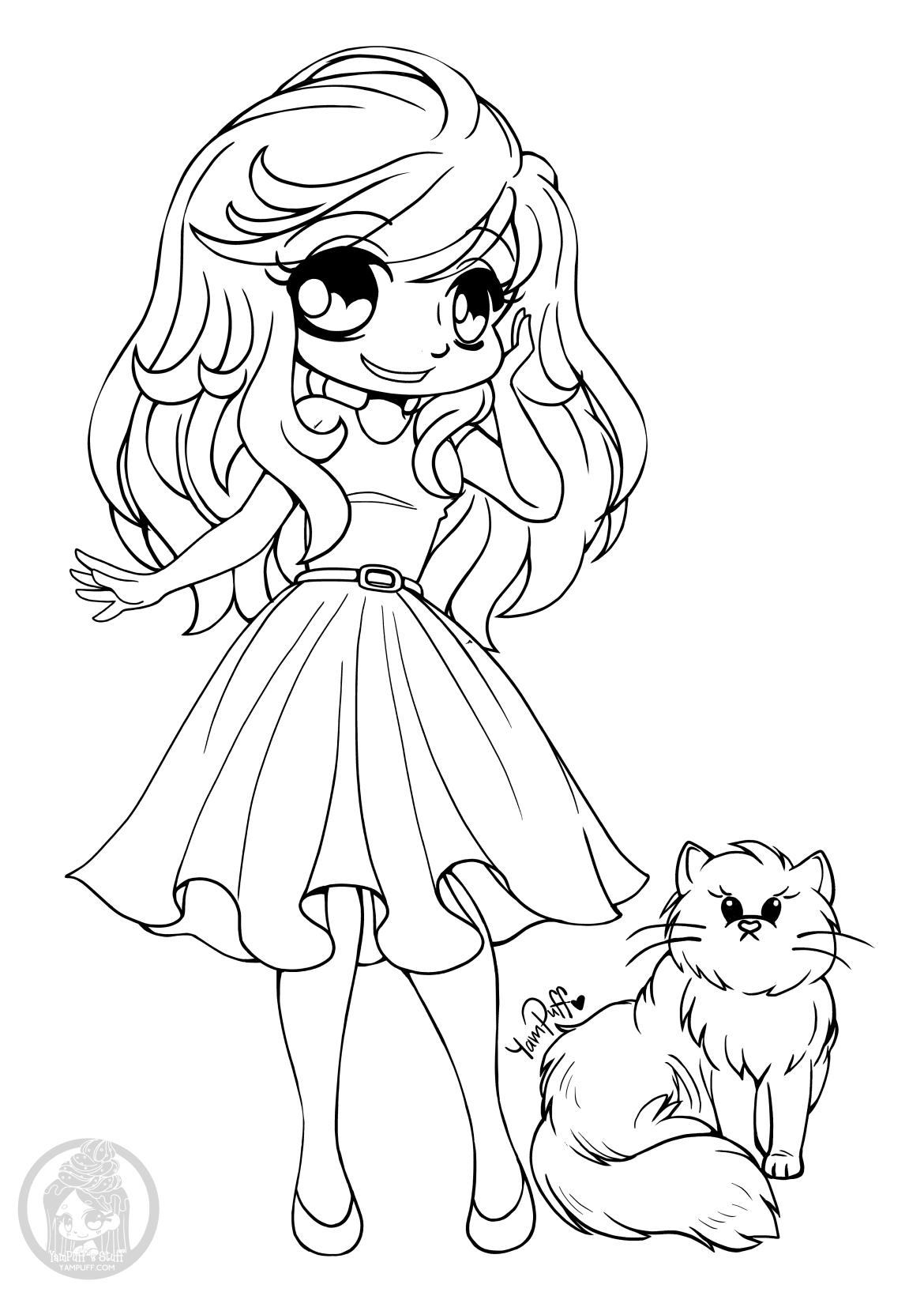Image manga fille pour colorier chibi par YamPuff