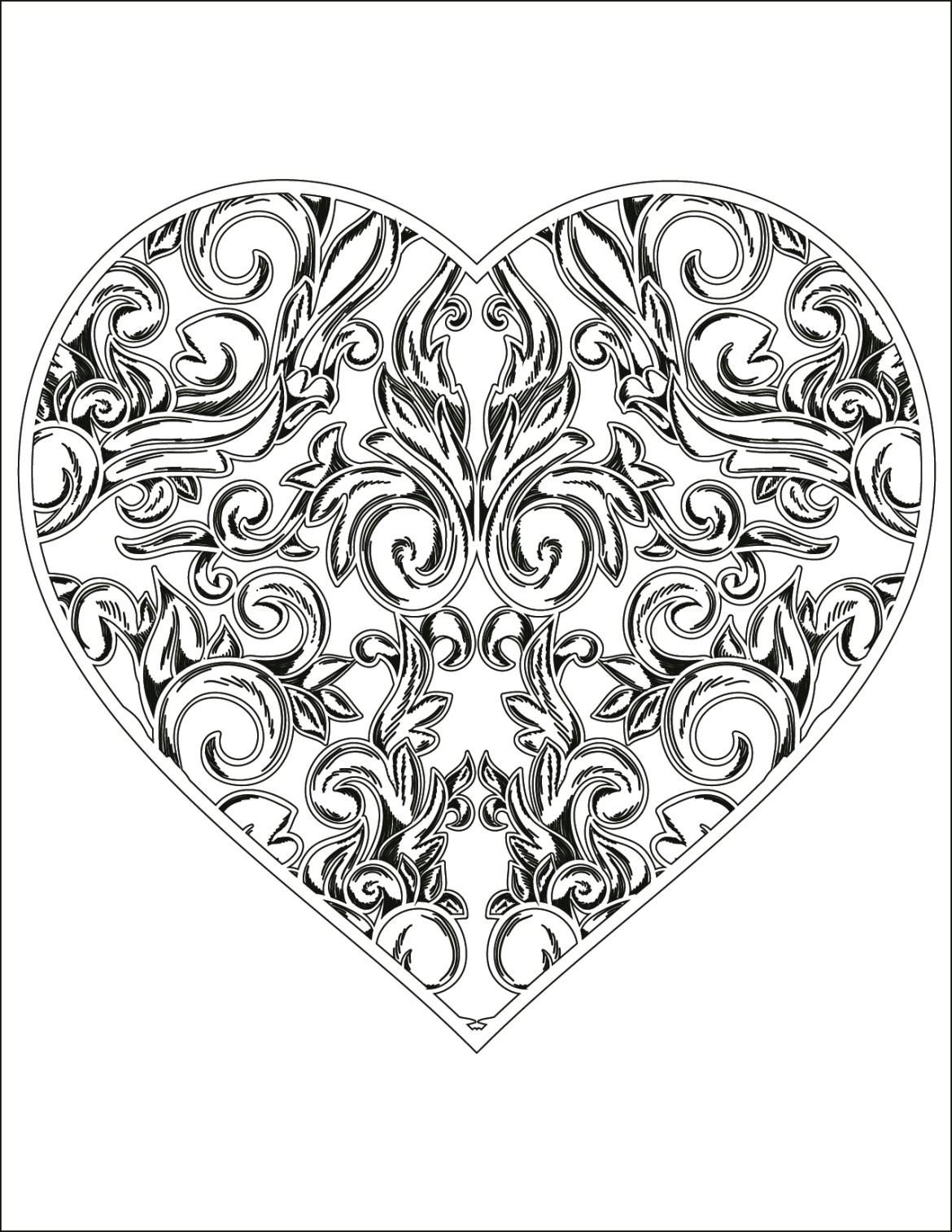 Carte St-Valentin coeur à colorier pour adulte gratuite