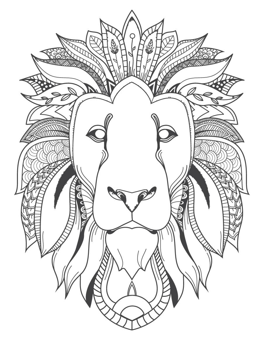 Image félin tête de lion coloriage pour adulte à imprimer - Artherapie.ca