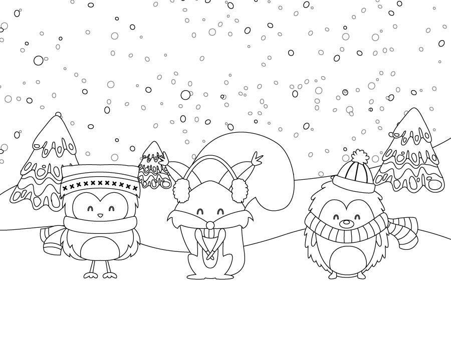 Coloriage de animaux hiver page dessin imprimer gratuite - Dessin sur l hiver ...