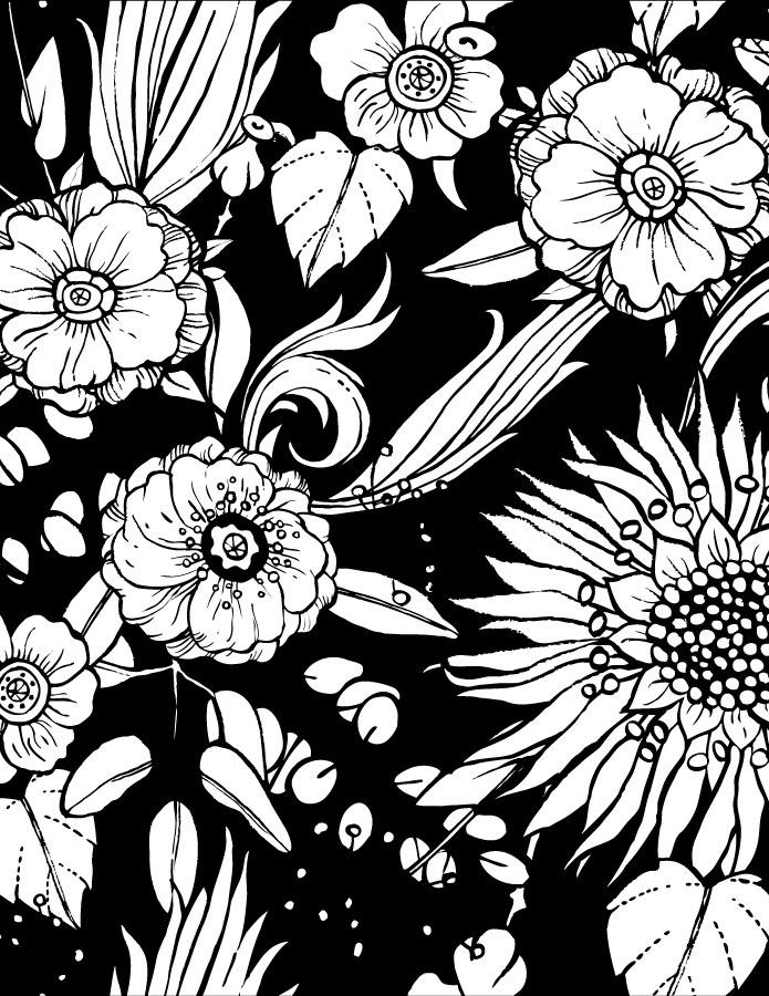 Imprimer des fleurs à colorier black background page