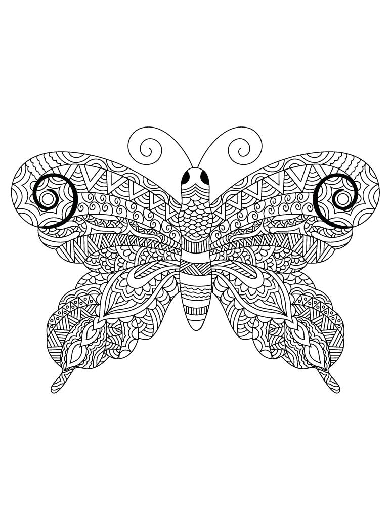 Papillon zendoodle très difficile dessin à colorier et imprimer