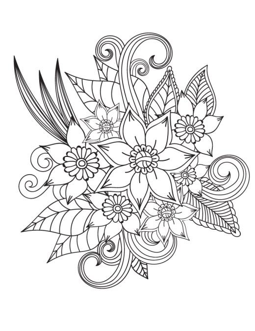 Dessin pour colorier a imprimer pour adulte de fleurs
