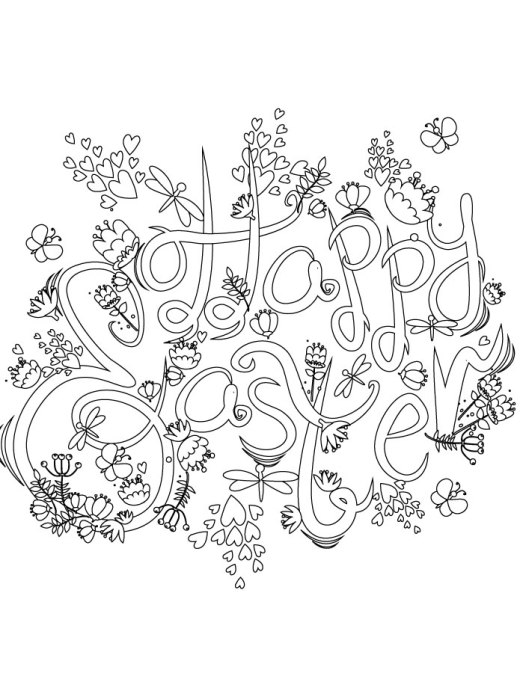 Easter Day typographie artherapie coloriage adulte