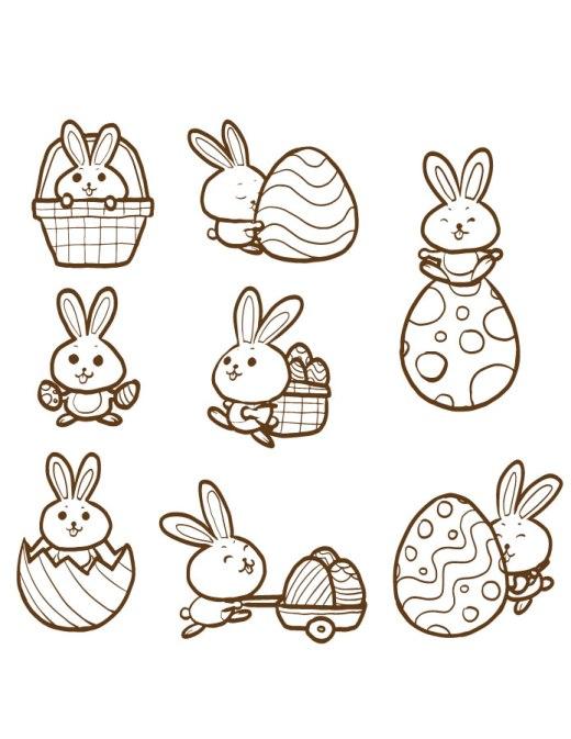 Page à dessiner lapin de paque pour adulte