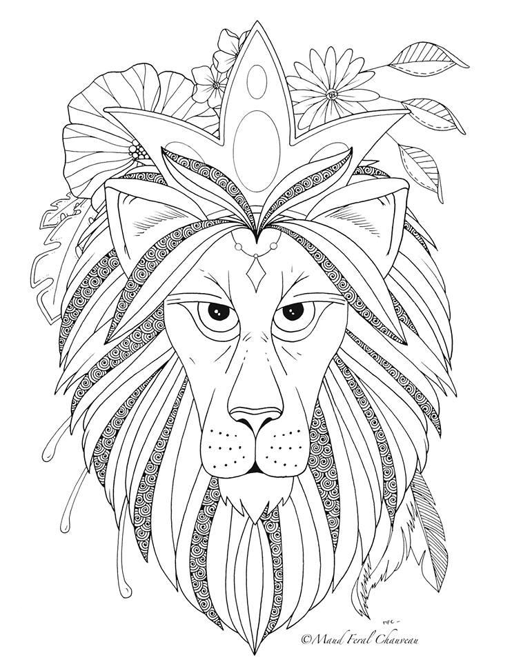 Image gratuite a imprimer lion par Maud Feral