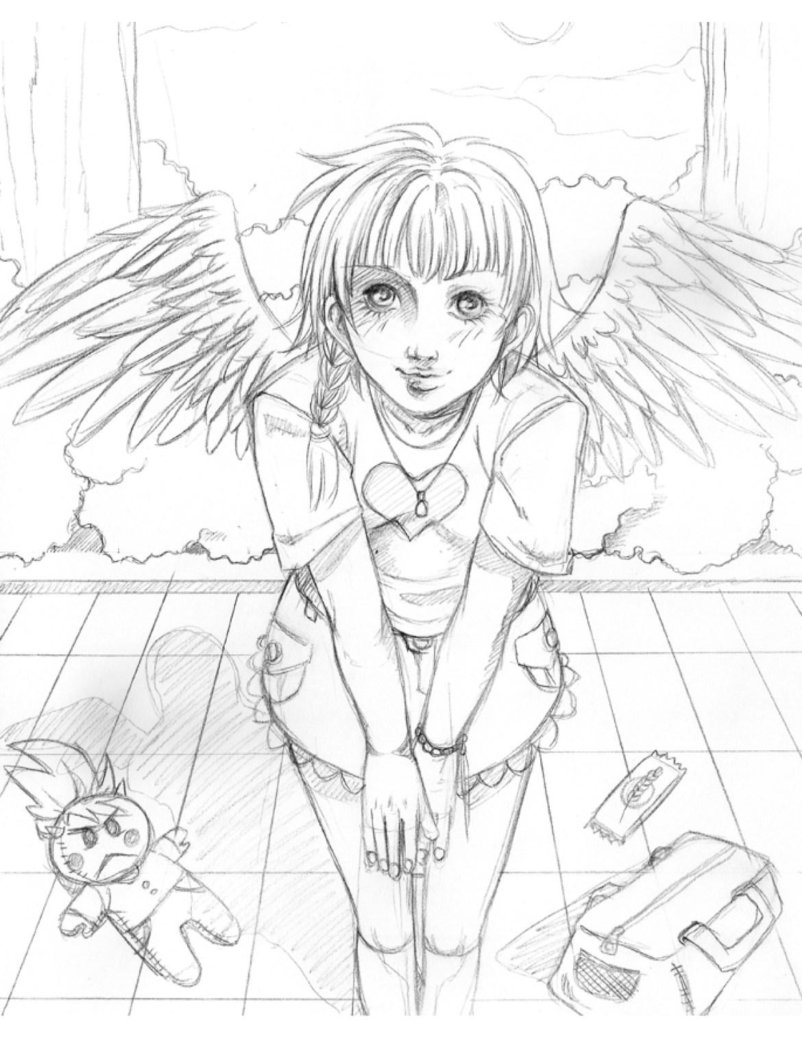 Fillette ange coloriage pour imprimer sketch par Dar-Chan