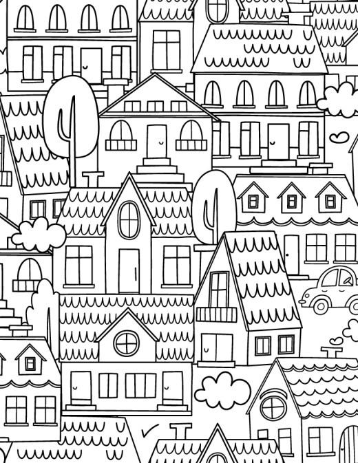 Ville image gratuite a imprimer et colorier pour adulte