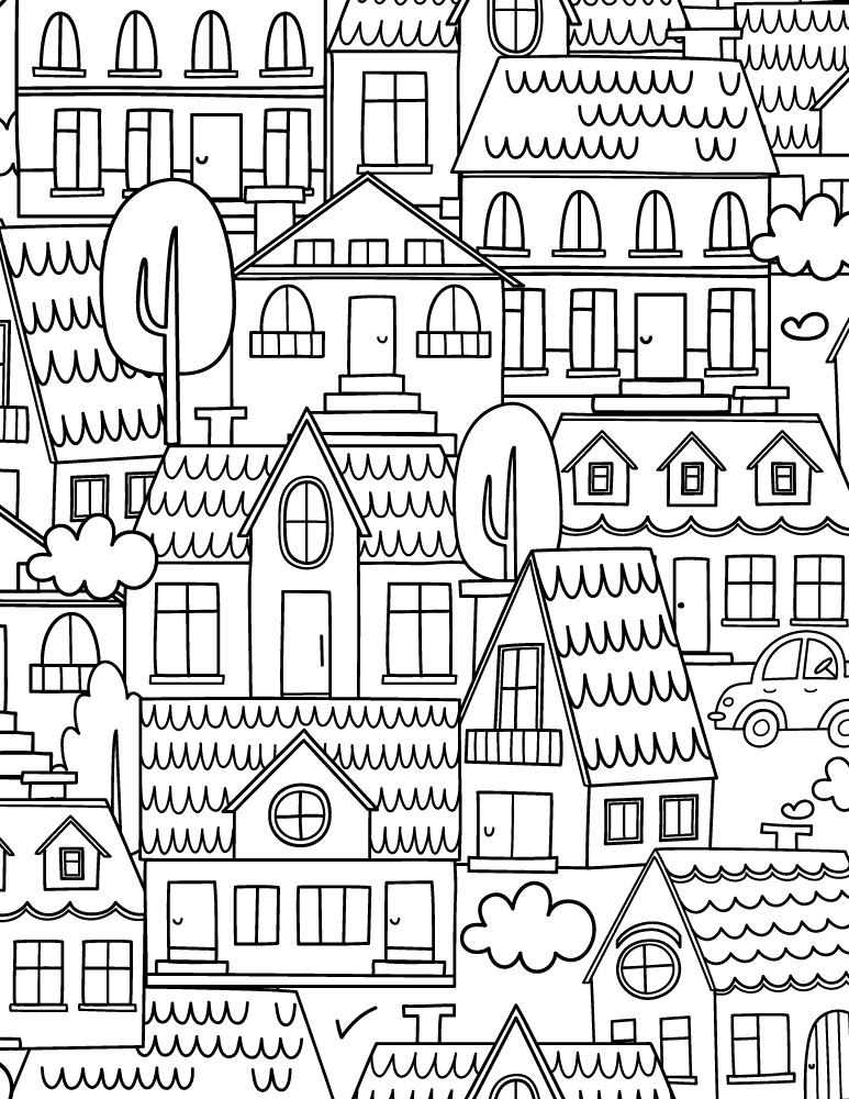 Ville image gratuite a imprimer et colorier pour adulte - Coloriage ville ...
