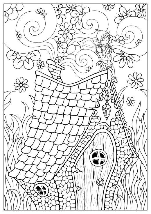 Maison de fée coloriage adulte par Konstantinos