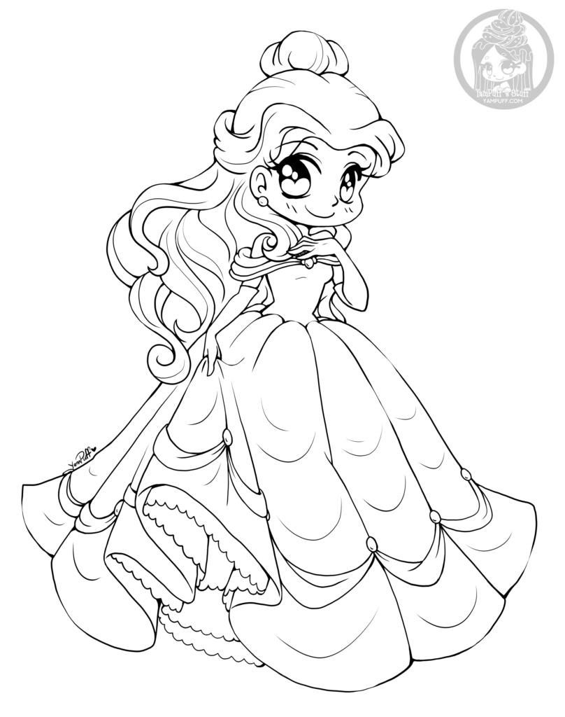 Dessin princesse belle par yampuff coloriage disney adulte - Princesse dessin ...