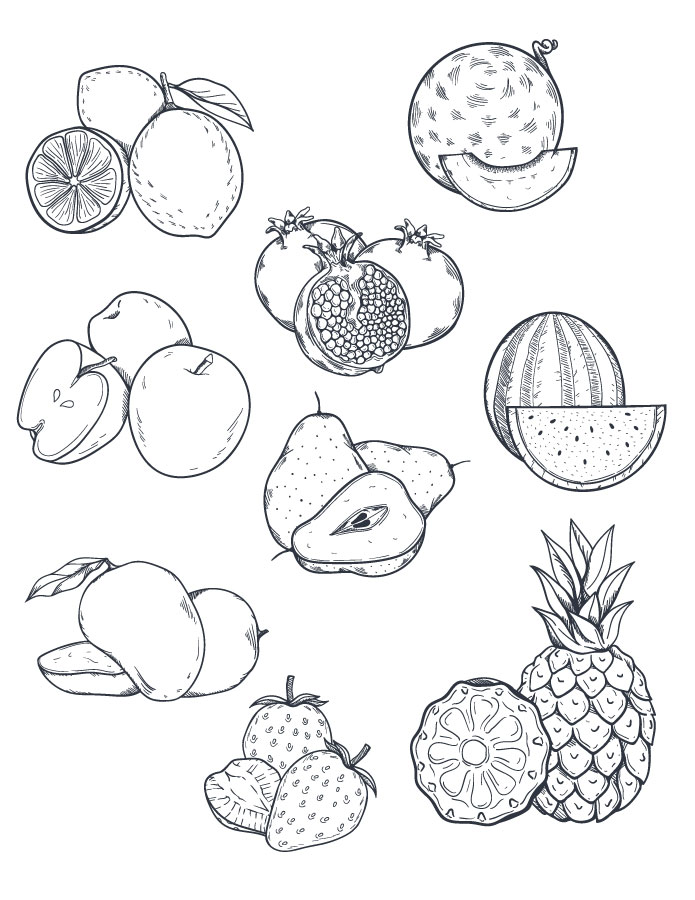 Fruits coloriage a imprimer et dessiner artherapie - Fruits coloriage ...