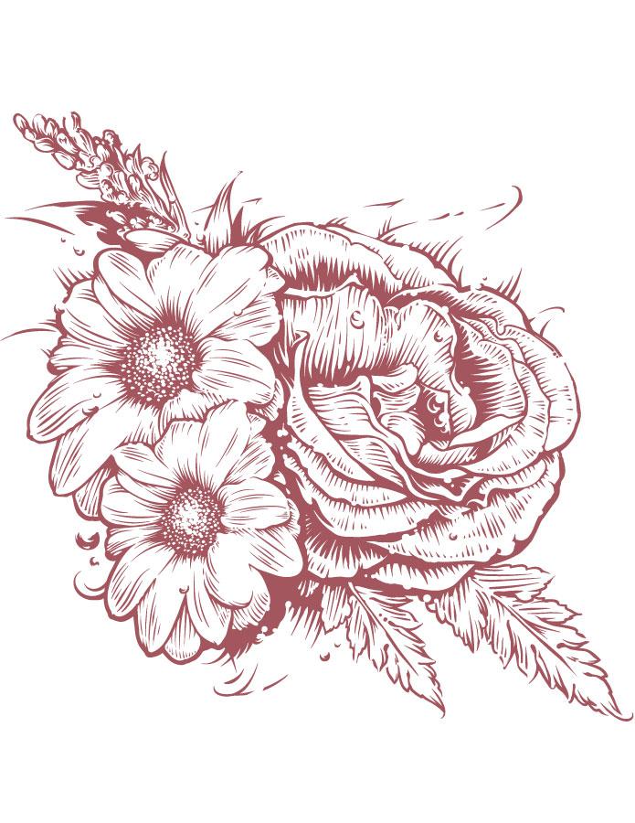 Rose et marguerites coloriage adulte à imprimer gratuit