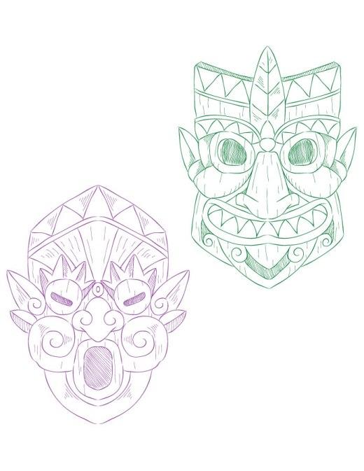 Masque tiki artherapie coloriage adulte à imprimer