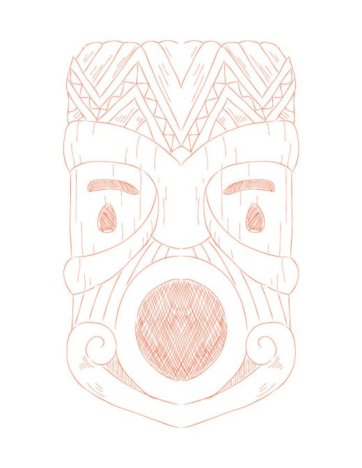 Coloriage adulte à imprimer Tiki mask colours