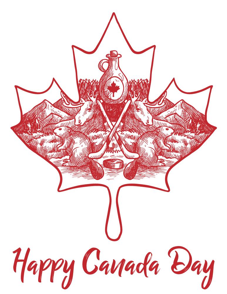 Dessin coloriage à imprimer fête Canada 1er juillet