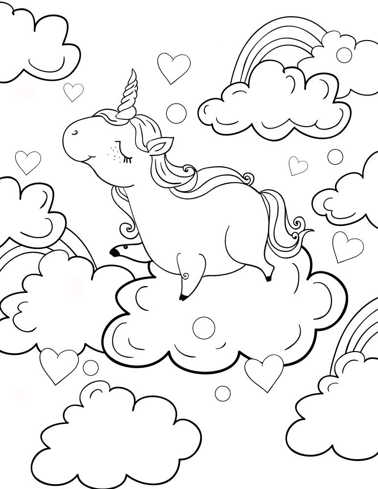 Dessin coloriage licorne à imprimer et colorier