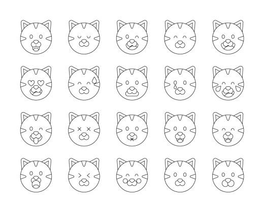 Mignon coloriage emoji chat à imprimer gratuit