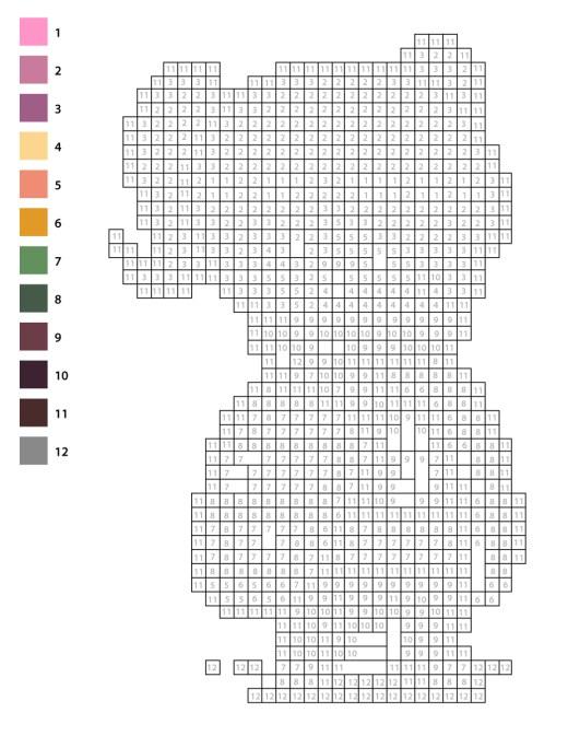 Coloriage pixel art mystère à numéros pour imprimer