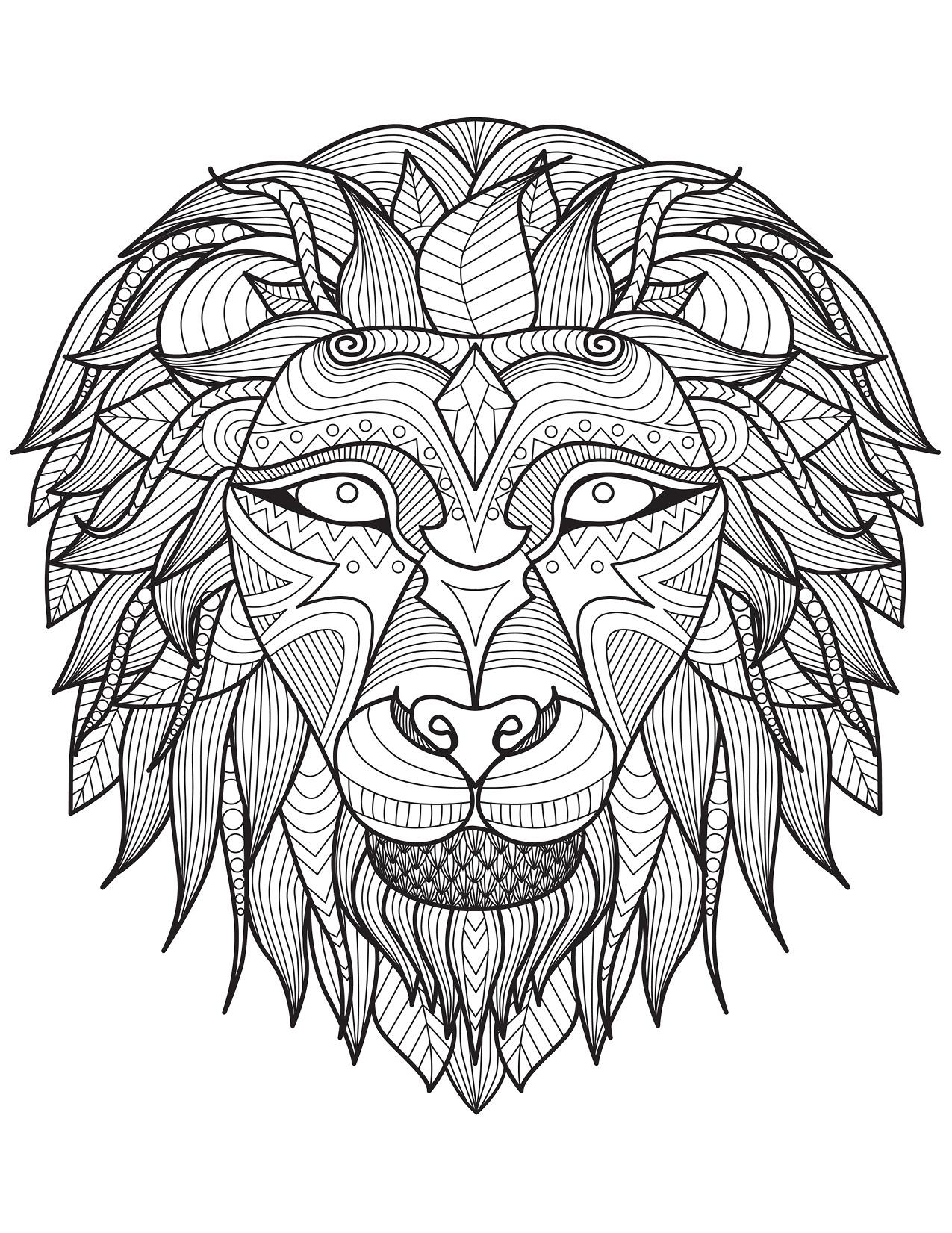 Lion dessin difficile art thérapie bestiaire à imprimer ...