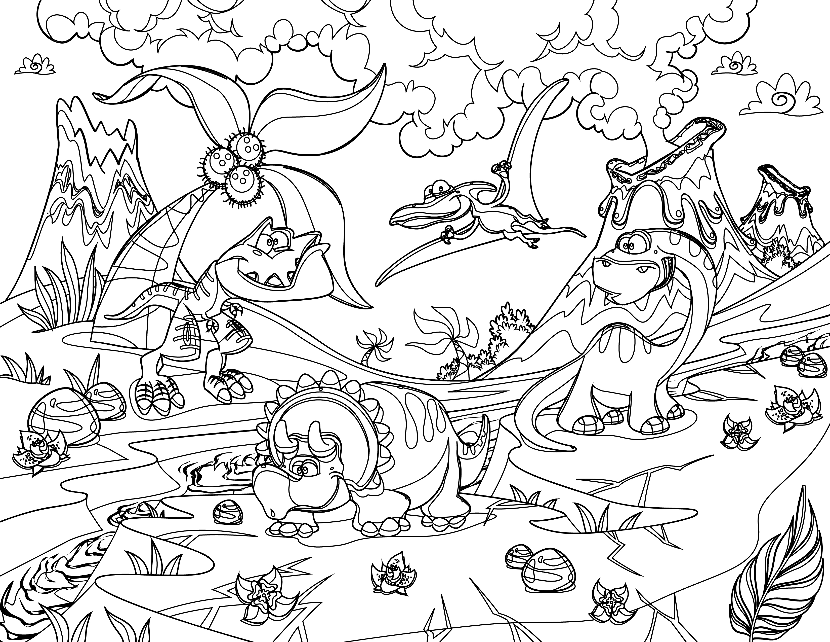 Coloriage Facile Dinosaure.Coloriage Dinosaure Art Therapie Bestiaire Tres Difficile