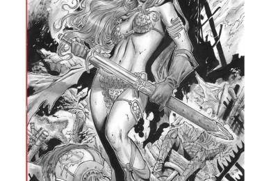 Red Sonja Marvel comics page grayscale par Walter Geovani