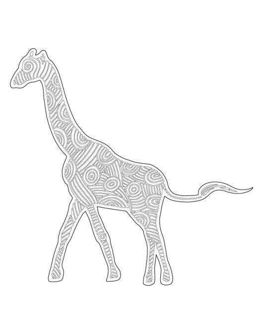 Coloriage girafe dessin en ligne art thérapie bestiaire