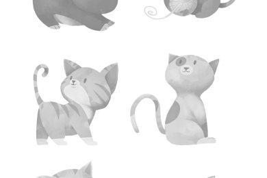 Coloriage chat page artherapie grayscale à imprimer