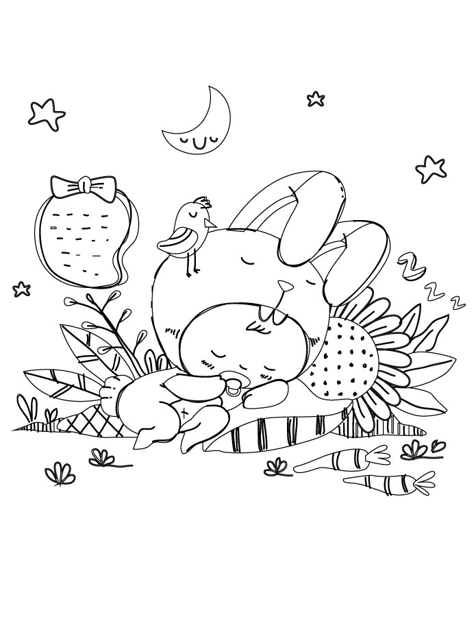Coloriage Gratuit Bebe Lapin.Personnage Bebe Lapin Mignon Adult Coloring Sheet Artherapie Ca